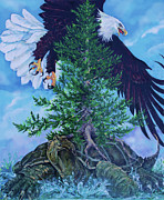 Eagle Paintings - Turtle Island by Derrick Higgins