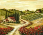 Tuscany Posters - Tuscan road With Poppies Poster by Marilyn Dunlap
