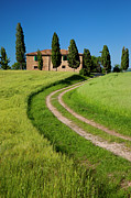 Tuscan Road Framed Prints - Tuscany Villa Framed Print by Brian Jannsen