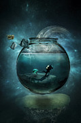 Escape Digital Art Posters - Two lost souls swimming in a fishbowl Poster by Erik Brede