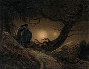 Contemplating Framed Prints - Two Men Contemplating the Moon Framed Print by Caspar David Friedrich