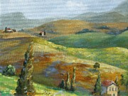 Chris Brandley Paintings - Umbrian Countryside by Chris Brandley