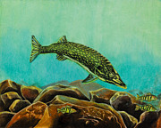 Hunting Pastels Prints - Underwater Predators Panel 2  Print by Jeanne Fischer