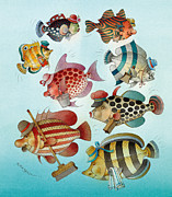 Sea Drawings Prints - Underwater Story 01 Print by Kestutis Kasparavicius