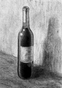 Wine Bottle Drawings - Une bouteille de vin rouge by Jacqueline Barden