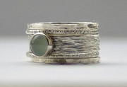 Engagement Jewelry Originals - Unique Aquamarine rustic hammered recycled sterling silver stackable wedding ring set  by Nadina Giurgiu