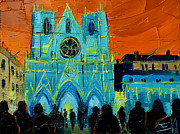 Crowds Painting Originals - Urban Story - The Festival Of Lights In Lyon by EMONA Art