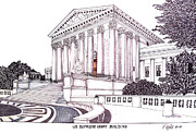Washington Dc Drawings - US Supreme Court Building by Frederic Kohli