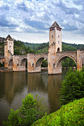 Medieval Metal Prints - Valentre bridge in Cahors France Metal Print by Elena Elisseeva