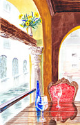 Glass Wall Prints - Venetian Cafe Print by Irina Sztukowski