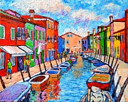 City Of Bridges Painting Posters - Venezia Colorful Burano Poster by Ana Maria Edulescu