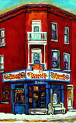 Hockey Stars Paintings - Verdun Landmarks Pierrette Patates Resto Cafe  Deli Hot Dog Joint- Historic Marquees -montreal Scene by Carole Spandau