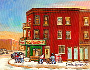 Hockey Art Paintings - Verdun Winter Scenes-pierrette Patates Deli - Verdun Hockey Art By Carole Spandau by Carole Spandau
