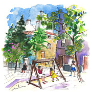 Town Square Drawings Prints - Villena 07 Print by Miki De Goodaboom