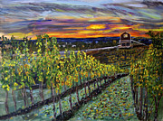 Winemaking Painting Framed Prints - Vineyard at Sunset Framed Print by Rex Maurice Oppenheimer