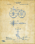 Den Posters - Vintage 1866 Velocipede Bicycle Patent Artwork Poster by Nikki Marie Smith