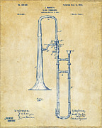 Marching Band Framed Prints - Vintage 1902 Slide Trombone Patent Artwork Framed Print by Nikki Marie Smith