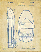 Chris Craft Prints - Vintage 1943 Chris Craft Boat Patent Artwork Print by Nikki Marie Smith