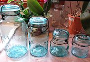 Mason Jars Posters - Vintage Atlas Blue Glass Canning Jars Poster by Kathy Clark