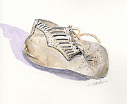 Shower Gift Paintings - Vintage Baby Shoe by Sheryl Heatherly Hawkins
