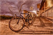 Sunset Scenes. Prints - Vintage Beach Bike Print by Debra and Dave Vanderlaan