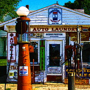 Wingsdomain Art and Photography - Vintage Gas Station v3a - square