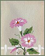 Archives Digital Art - Vintage Greeting. Happy Flowers along the Fence  by Pierpont Bay Archives