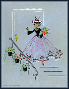 Potted Drawings Metal Prints - Vintage Greeting. Lady Dressed to the Nines with flowers ready for a Party Metal Print by Pierpont Bay Archives