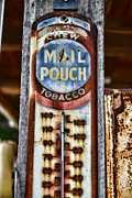 Chewing Tobacco Prints - Vintage Metal Mail Pouch Tobacco Thermometer Print by Paul Ward