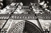 Brown Toned Art Metal Prints - Vintage Notre Dame Metal Print by John Rizzuto