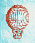 Basket Drawings Prints - Vintage Red Hot-Air Balloon Print by World Art Prints And Designs