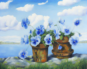 Peaceful Places Paintings - Violets on the beach by Veikko Suikkanen