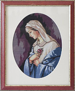 Cross Tapestries - Textiles Framed Prints - Virgin Mary Framed Print by Ursu Camelia