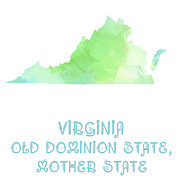 Virginia Digital Art Prints - Virginia - Old Dominion State - Mother State - Big Bend State Print by Andee Photography
