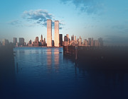 The Twin Towers Of The World Trade Center Prints - Vision of a Great City Print by Kellice Swaggerty