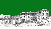 Miami Drawings - Vizcaya Museum in green by Building  Art