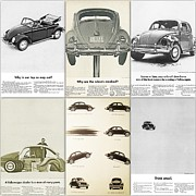 Volkswagen Beetle Prints - Volkswagen Beetle Collage Print by Nomad Art And  Design