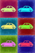Bug Digital Art Metal Prints - VW Beetle Pop Art 2 Metal Print by Irina  March