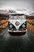 Misty. Framed Prints - VW Camper Glen Etive Framed Print by John Farnan
