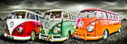 Vw Camper Van Prints - VW Campervans Print by Ian Hufton