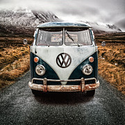 Misty. Framed Prints - VW in Glen Etive Framed Print by John Farnan