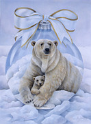 Polar Bears Framed Prints - Warm Reflections Framed Print by Laura Regan