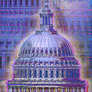 Pink Dots  Posters - Washington Capitol Dome Poster by Tony Rubino
