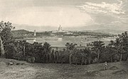 Washington Dc Drawings - Washington from Arlington Heights 1872 Engraving by Antique Engravings