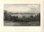 Washington Dc Drawings - Washington from Arlington Heights 1872 Engraving with border by Antique Engravings