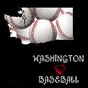Baseball Art Digital Art Framed Prints - Washington Loves Baseball Framed Print by Andee Photography