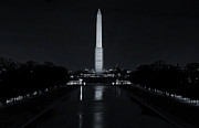 Reflecting Pool Photos - Washington Monument at Night by Joan Carroll