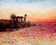 New England Lighthouse Painting Prints - Watch Over Me Print by Shana Rowe