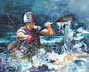 Canoe Drawings Posters - Water Fight Poster by Miki De Goodaboom