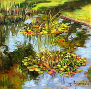 Dominique Amendola Prints - water lilies in California Print by Dominique Amendola